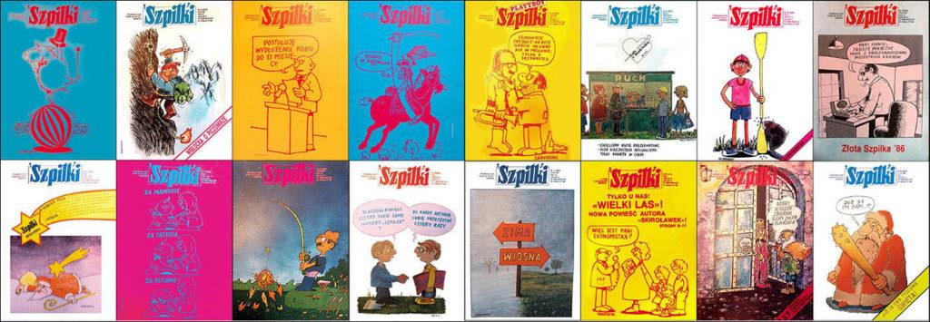 okładki tygodnik satyryczny Szpilki karykatury rysunki Szczepan Sadurski