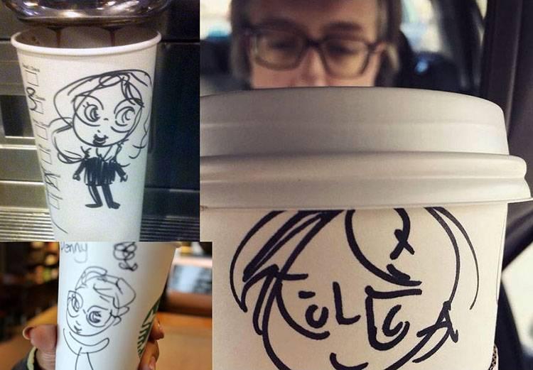 karykatury Starbucks karykaturzysta kawiarnia kawa