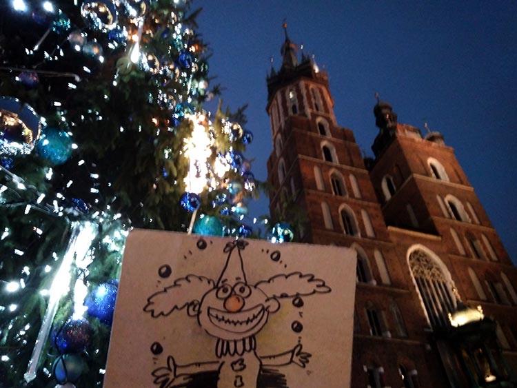 Kraków wigilia firmowa atrakcje Boże Narodzenie karykaturzysta